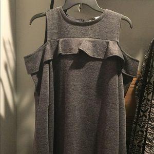 LOFT gray Cold Shoulder Knee Length Dress